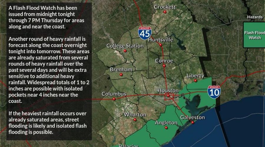 Southeast Texas – More Rain, Wind, and Waves – 9/12/2018